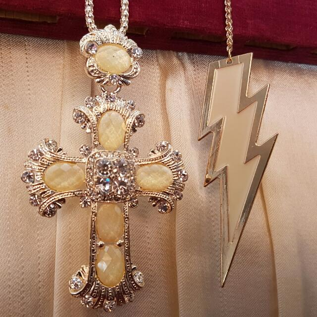 Set Of 2 Brand New Big Cross And Lightning Bolt Necklace