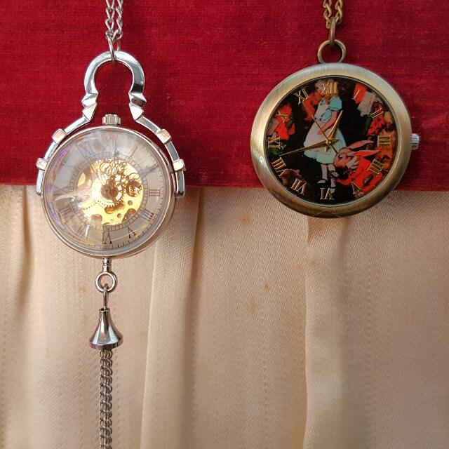 Set Of 2 Brand New Mechanical Pocket Watch And Alice In Wonderland Pocket Watch Necklace