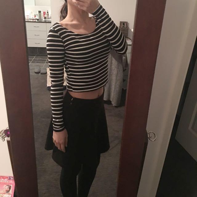 Striped Long Sleeve Shirt Tight Top