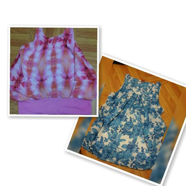 take all floral top (pink and blue)