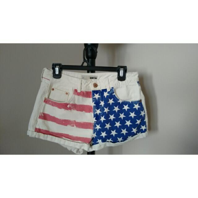 Topshop American Flag Shorts