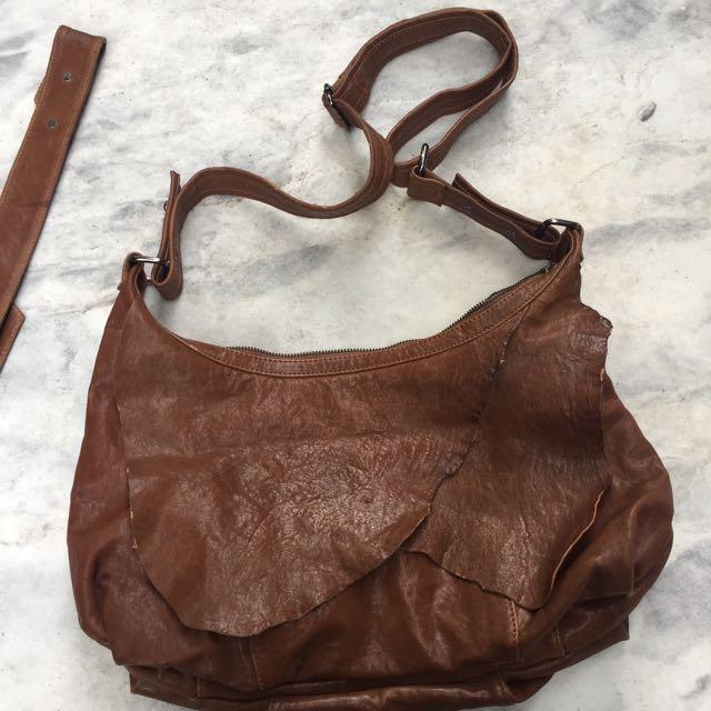 Vintage Brown Hobo Bag Leather