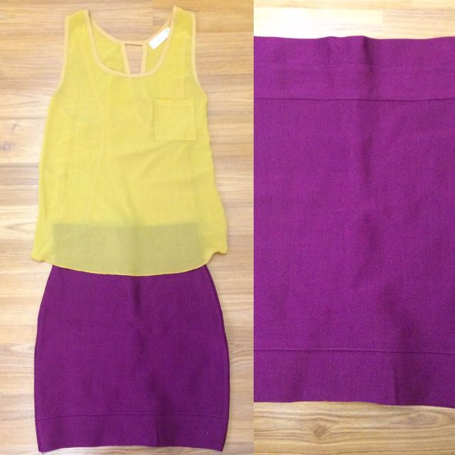 Yellow Tank & Purple Bodycon