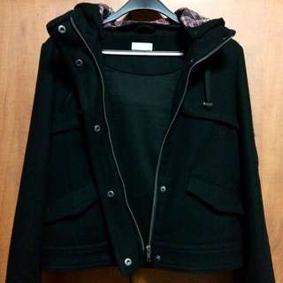 Topshop Moto Jacket With Removable Hood