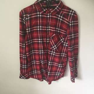 Blue Notes  BNWOT Boyfriend Red Flannel