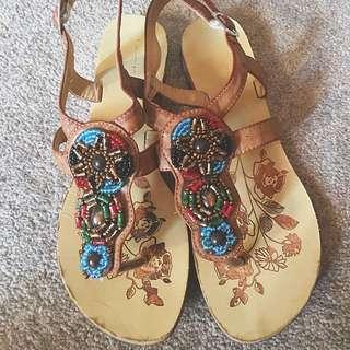 Beige Bohemian Sandals