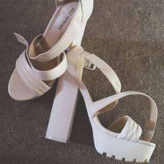 White Thick Heel Sandals