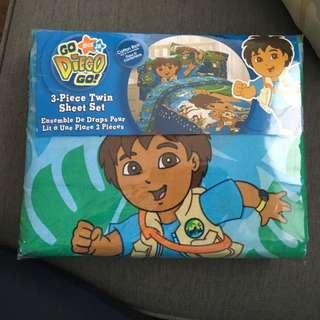 Go Diego Go 3 Piece Twin Sheet Set