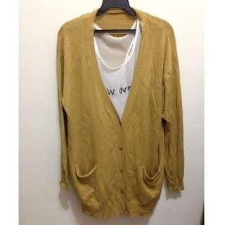 芥黃色薄針織長版外套