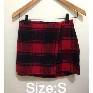 紅格紋毛呢包臀裙S