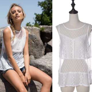 New S/M/L White Lace Beach/festival Top