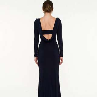Backless Navy Blue Gown
