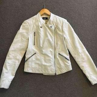 Dotti Off-white/Cream Coloured Pleather Jacket Size 8