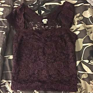 Garage Purple Lace Top
