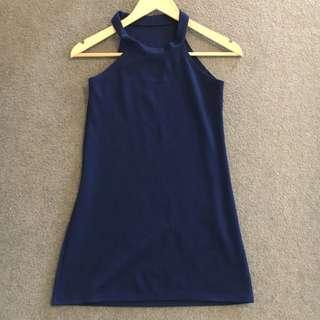 Navy Blue Halter Dress Size 6 / XS