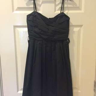 Pleated Prom Black Dress