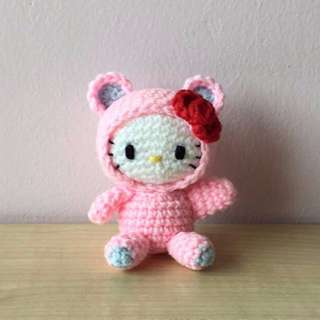 Hello Kitty with pink bear suit (with desired name tag or short message tag)