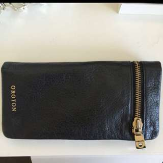 Oroton Leather Wallet With Gold Zip