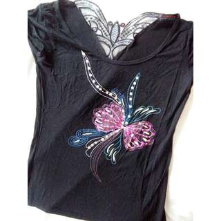 Black Sequined Printed Shirt
