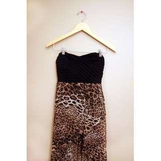 XS Leopard Hi-Low Dress w/ Open Back