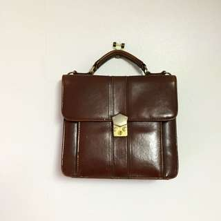 Vintage Brown Pleather Bag