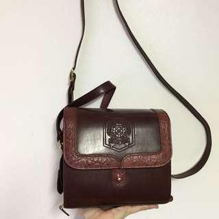 Vintage Brown/Burgundy Belle Rose Bag
