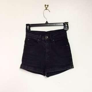 Dr Denim Black Highwaisted Shorts