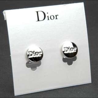 Christian Dior 銀色圓形LOGO牌耳環 針款