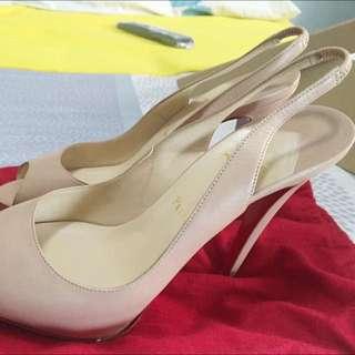 Christian Louboutin Nude Peep Toe Sling Heels