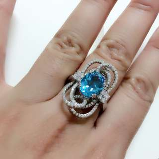 天然托帕石 925純銀鑲豪華鋯石女戒/戒指