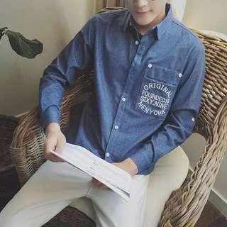 韓國秋款森林系男孩襯衫