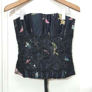Like New STEFANUS HAMY COUTURE Black Embellished Bustier - XS - Ex Fashion Show Item