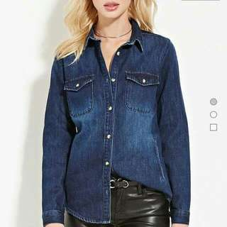 F21 Denim Dress Shirt