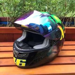 Black turtle motorcycle full face helmet