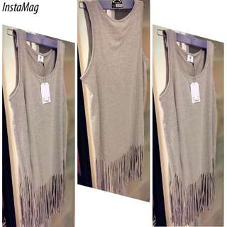 【100% New】Grey Long Top Vests Sleeveless