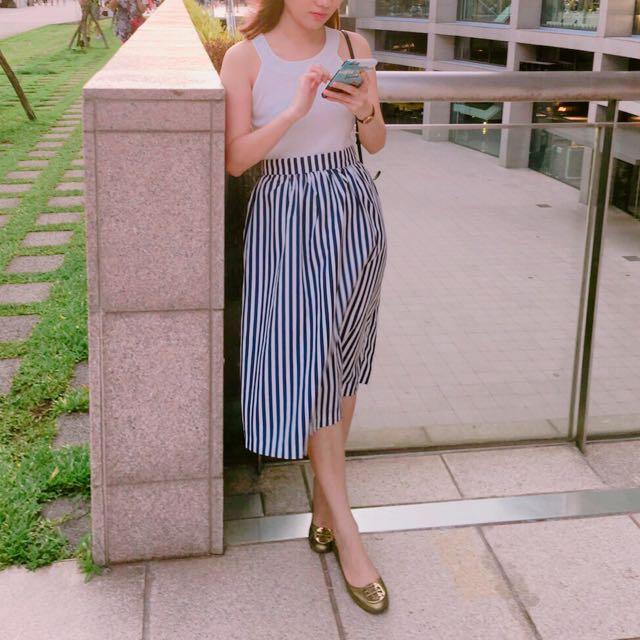 歐美條紋長裙