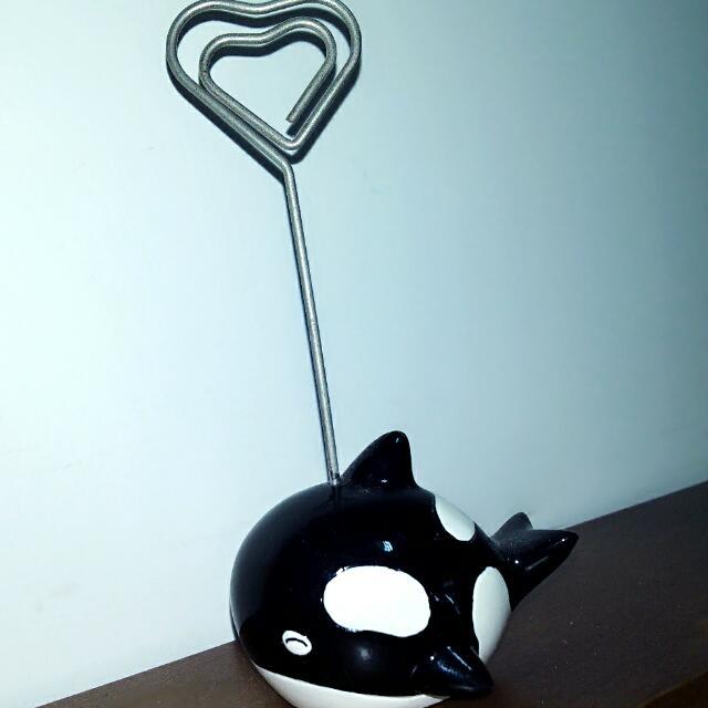 ★黑色小鯨魚—留言紙條夾★