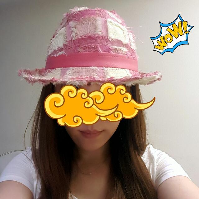 粉紅丹寧布料(牛仔布)漁夫帽