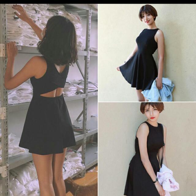 夏季顯瘦修身露背黑洋裝