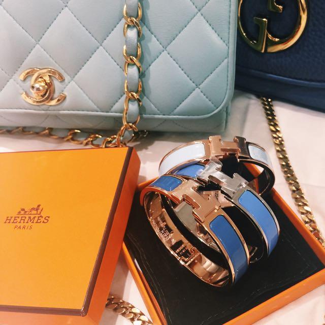 附購證 全新正品 Hermes H-click 珐瑯手環
