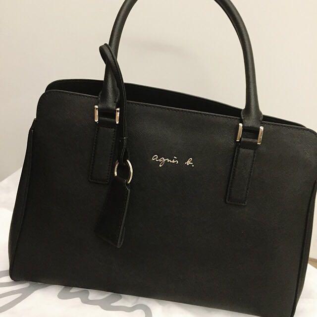 Agnes b 防刮牛皮肩背手提包(提把略磨損)Large/黑色