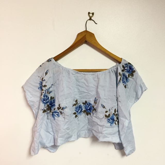 Baby Blue Floral Off Shoulder Top