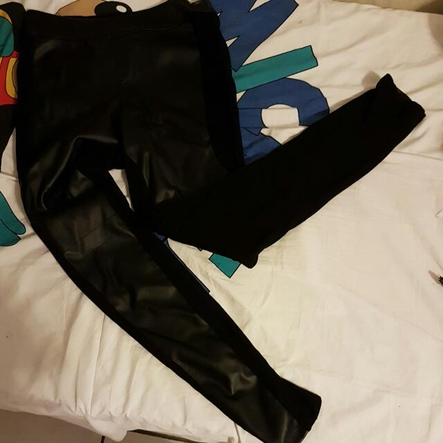 Black Dex Faux Leather Tights