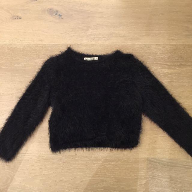Black Midi Fur Top
