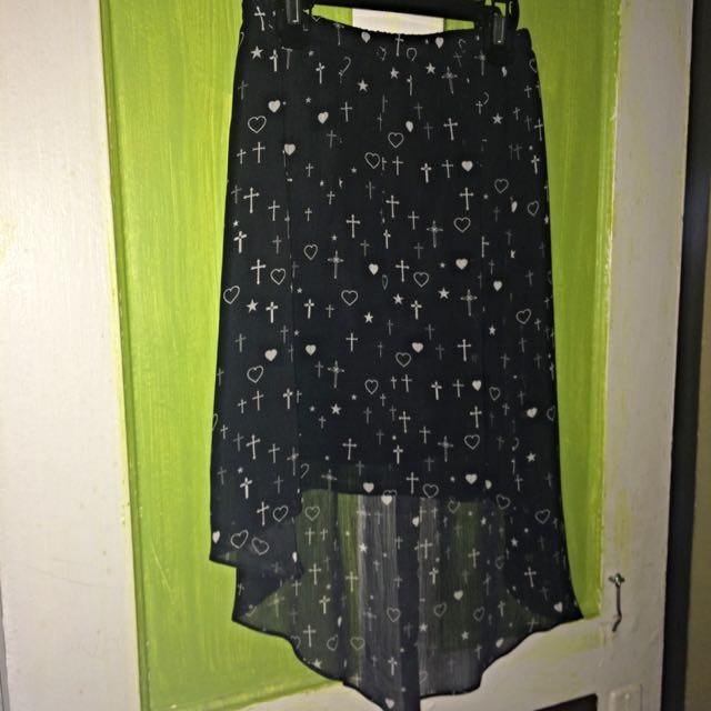 Black Patterned High-Low Skirt From Garage