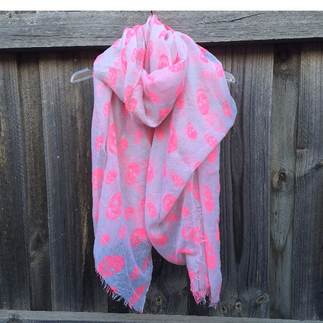 Cotton On Pink Skull Scarf