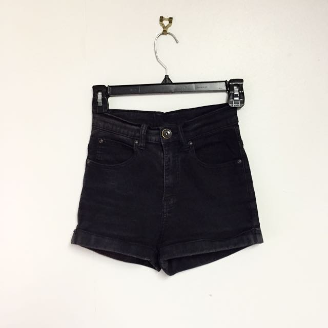 Dr Denim Black Highwaisted Shorts