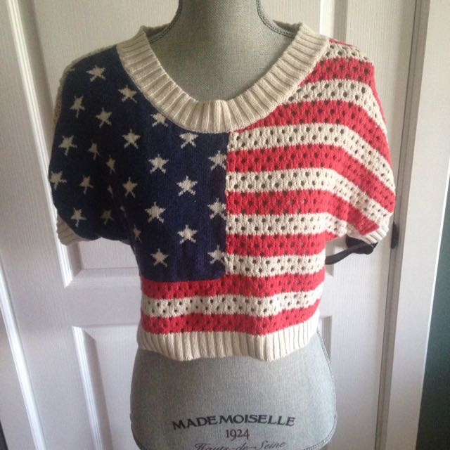 Forever 21 American Flag Knit Crop Top
