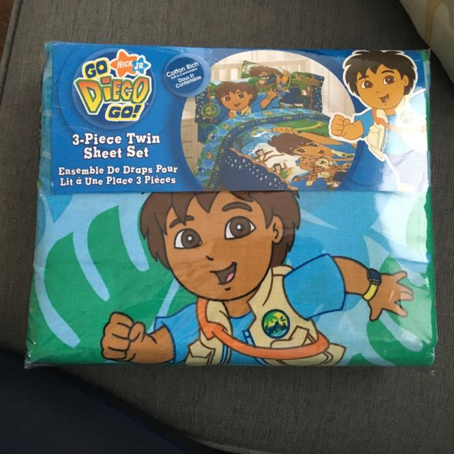 Go Diego Go 3 Piece Twin Sheet Set