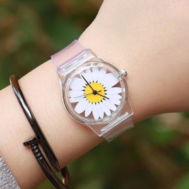 Jam Tangan - Chrysanthemum Transparent Watch White+Yellow